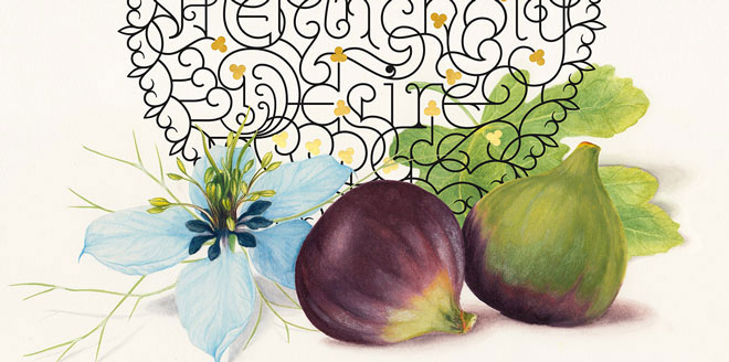 The Shades of Love - Love Blues Brown Turkey Figs and Love in The Mist Flower Emotions Symbolism Italic Calligraphy