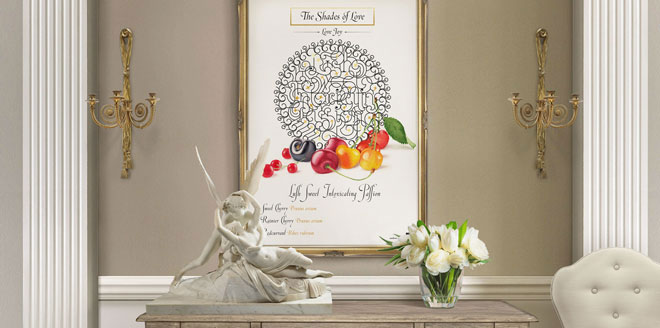 The Shades of Love - Love Joy Cherries Lettering Design Interior Framed