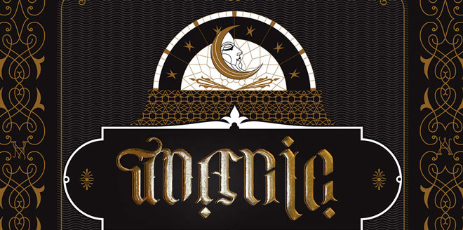 Typollusionist Moon Magic Ambigram Black and Gold Watchface With Hidden Words Design