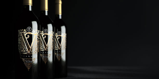 Vernoux French Wines Packaging Design Red Wine Gold Bottle Elegant Premium Packaging