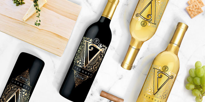 Vernoux French Wines Packaging Design Red Wine Gold Expensive Bottle Package