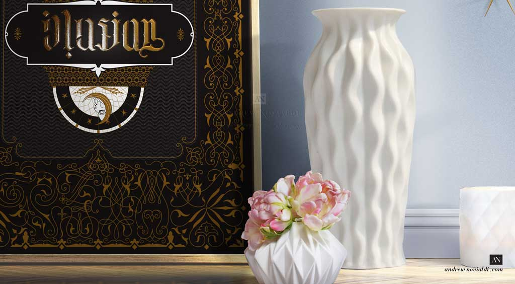 Typollusionist Design with Hidden Letters and Symbolism printed in Gold and Black Tapestry Decorative Letter