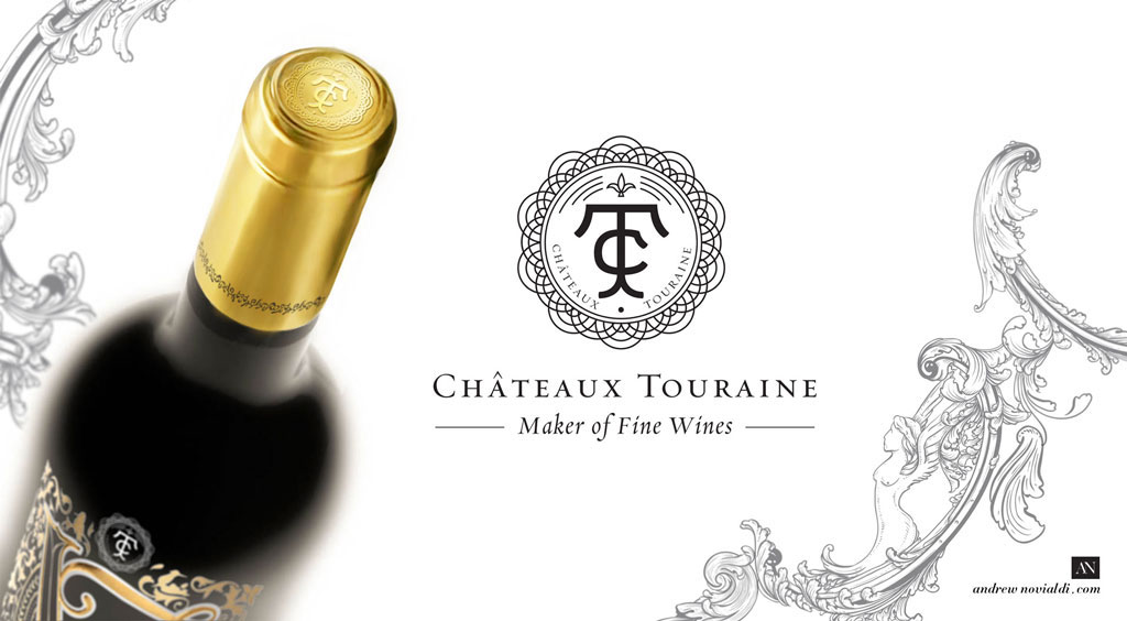 Vernoux French Capsule Cap Gold Foil Design Chateaux Touraine Vineyard Cabernet Sauvignon Packaging Bottle Liquor Design