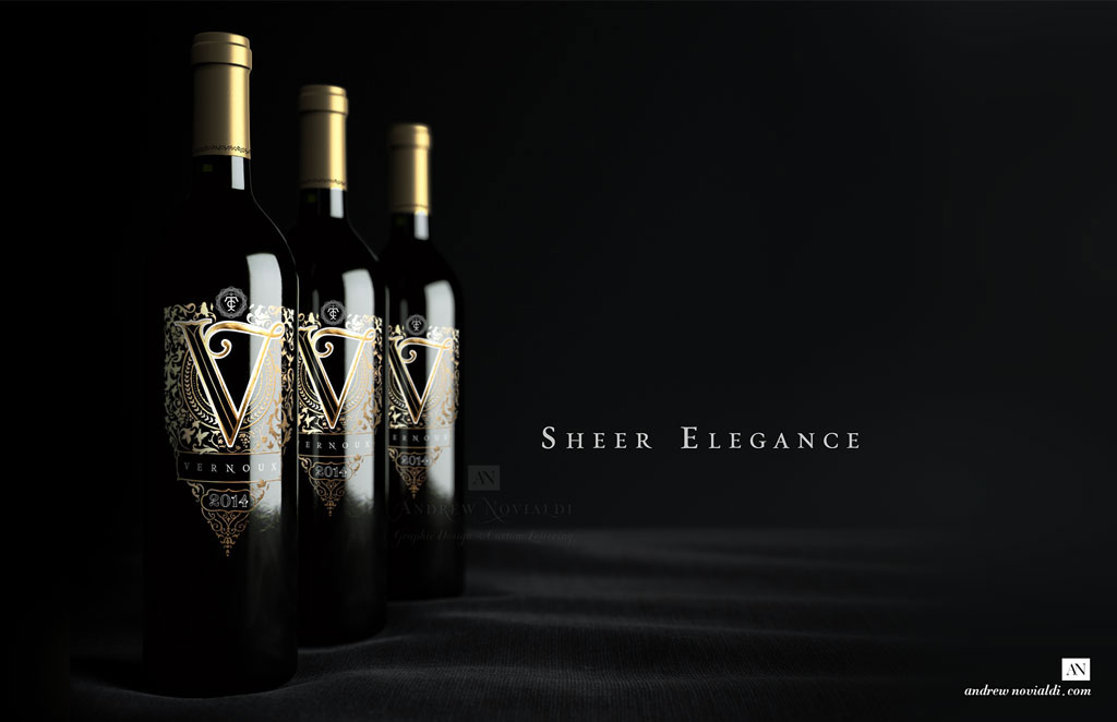Vernoux French Wines Opulent Ornamented Rich Gold Bottle Packaging Design