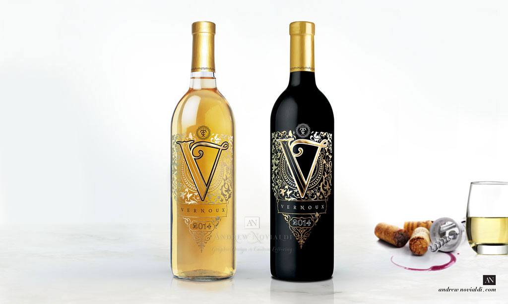 Vernoux French Sauvignon Blanc White Wine and Cabernet Sauvignon Red Wine Elegance Prestige Bottle Packaging Design
